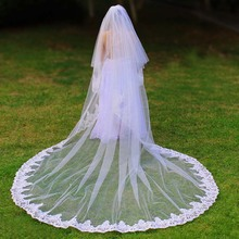 Real Photos 2 Layers Bling Sequins Lace 3 Meters 2 T Cathedral Wedding Veil with Comb Cover Face Bridal Veil Wedding Accessories real photos sparkly sequins lace 3 meters wedding veil with comb one layer 3 m white ivory bridal veil velo 2019