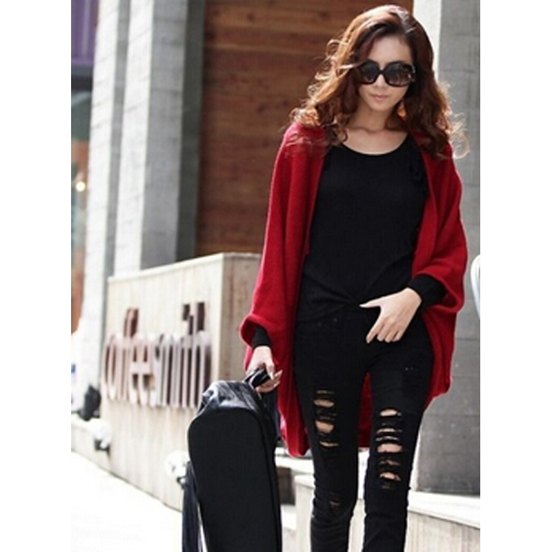 wholesale Korea Loose Shawl Batwing Sleeves Lady Knit Sweater Coat Woolen Women Cardigans female clothing DL1208