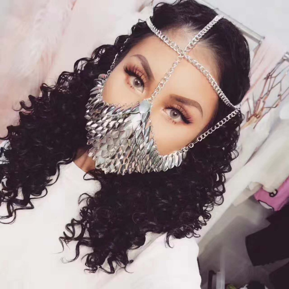 New Style Women Silver Colour Chains Layers Fish Scale Head Face Jewelry Unique Design Face Mask Chains Jewelry 3 Colors WRHE11 skull head style mask silver black
