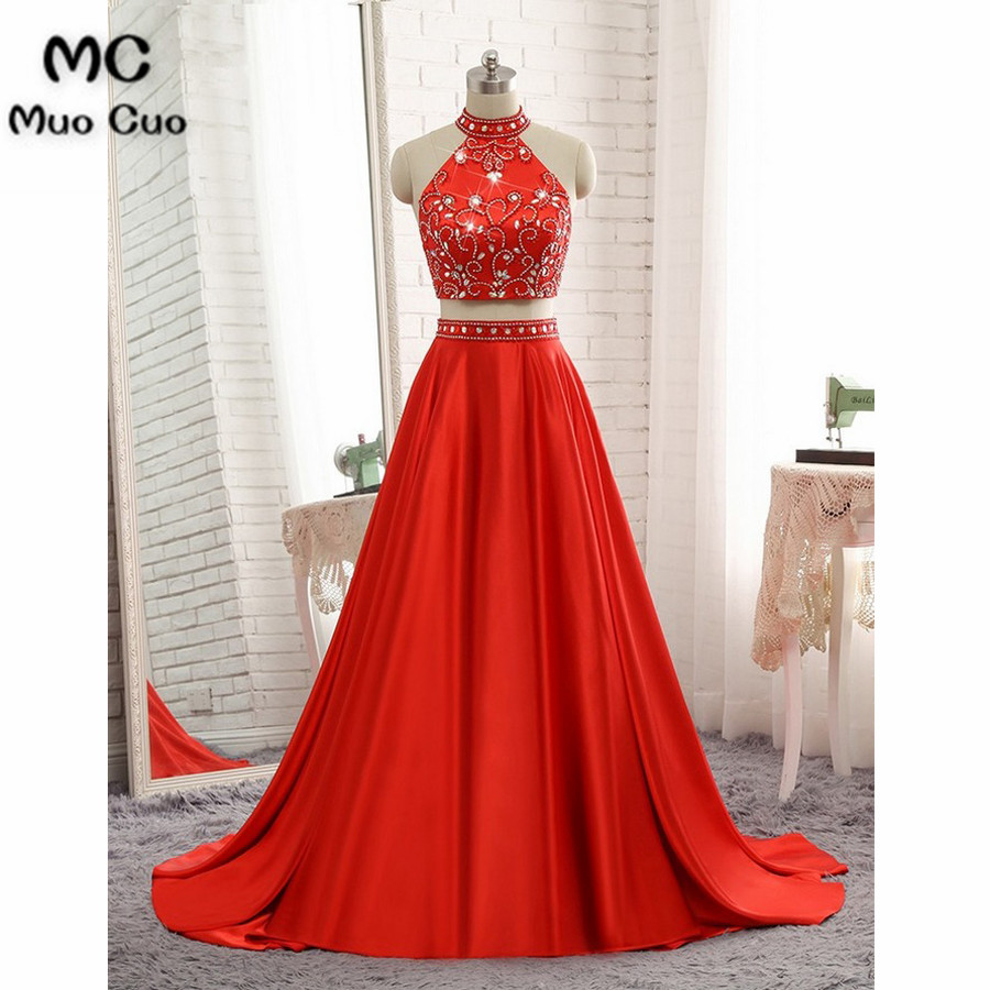 Elegant 2018 Red Prom Dresses Long Two Pieces Gown Sweep Train Satin Halter Beaded Crystals Formal Evening Party Dress