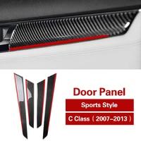 pcmos Carbon Fiber Seat Adjust Button Decals Car Sticker Door Panel Trim Strips For Benz mercedes C class w204 Interior Moulding