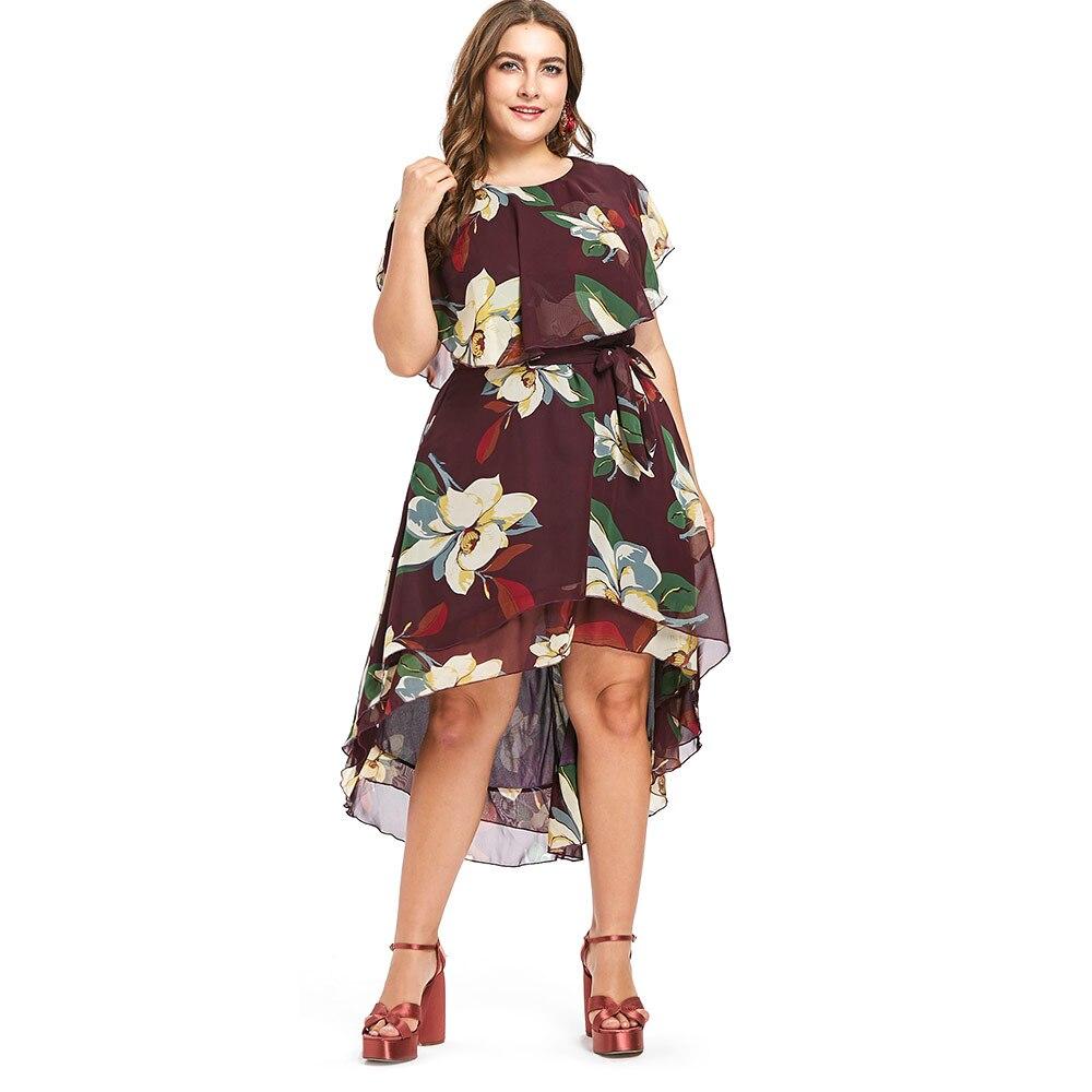 Aliexpress.com : Buy LANGSTAR Plus Size Dress Women Flower Flowy ...