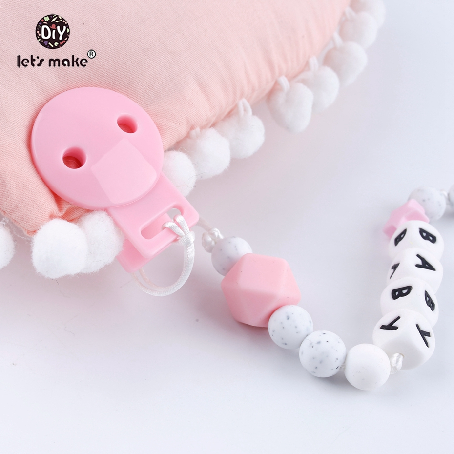 Let's Make Baby Accessories Round Head Pacifier Clips 20pc Mix Infant Soother Clip DIY Beads Baby Plastic Pacifier Clips Teether