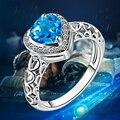 Wedding Band Jóias Amor Anéis de Noivado para As Mulheres Coração Londres Topázio Azul e Branco CZ Anel de Diamante Branco de Prata Banhado A Moda