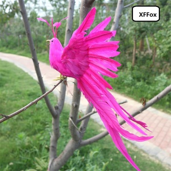 new real life long tail Phoenix model foam&feather simulation hot pink bird doll gift about 40x30cm xf1131