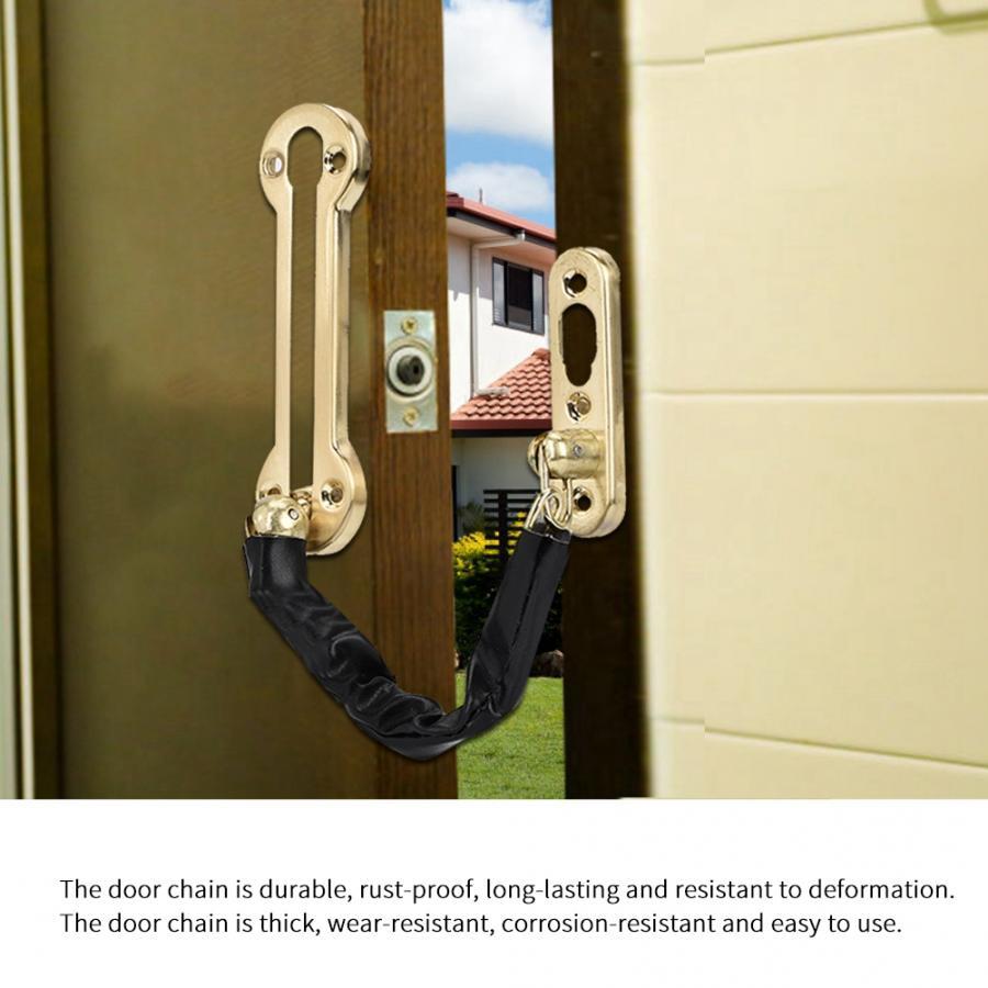 Stainless Steel Durable Anti-theft Chain Lock Security Guard Inside Door Home Hotel Black Door Lock Chain