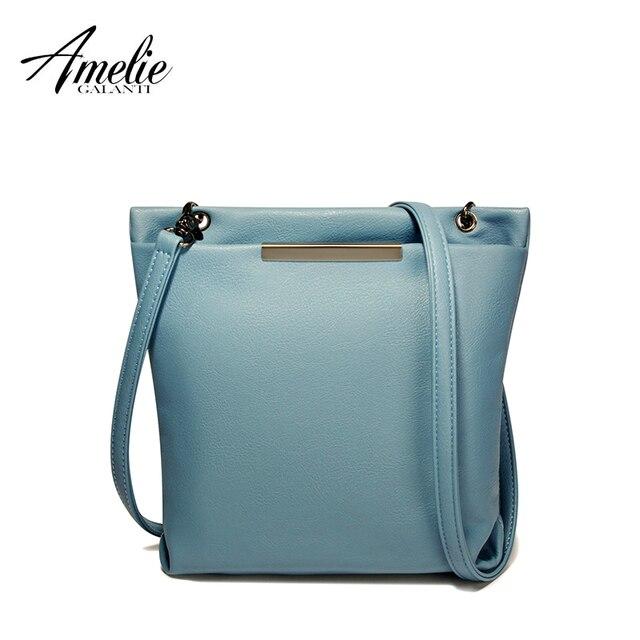 AMELIE GALANTI shoulder cross-body bag for Women multi-Pocket casual messenger bag soft PU Leather solid zipper adjustable-Strap