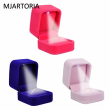 Jewelry Accessories - Jewelry Packaging  - MJARTORIA Velvet Ring Box Jewelry Display Storage Foldable Case With LED Lights Rounded Square High-grade Earrings Ring Jewelry