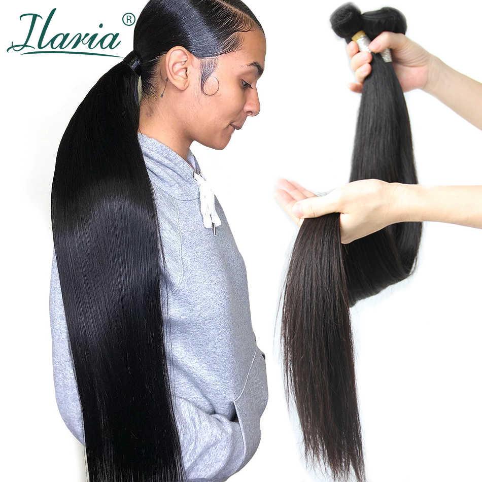 אילריה 30 אינץ 32 34 36 38 40 אינץ חבילות פרואני שיער ישר שיער טבעי Weave חבילות ארוך אורך רמי שיער תוספות