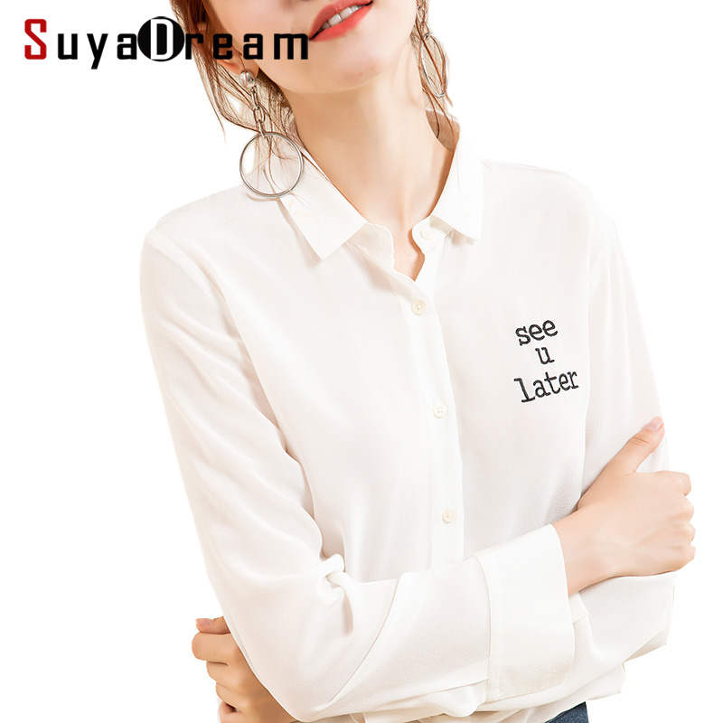 Women Silk   Blouse   19mm 100% Real Silk Long sleeved Office Lady   Blouse     shirt   Embroidery Letter 2018 Fall Winter Top White