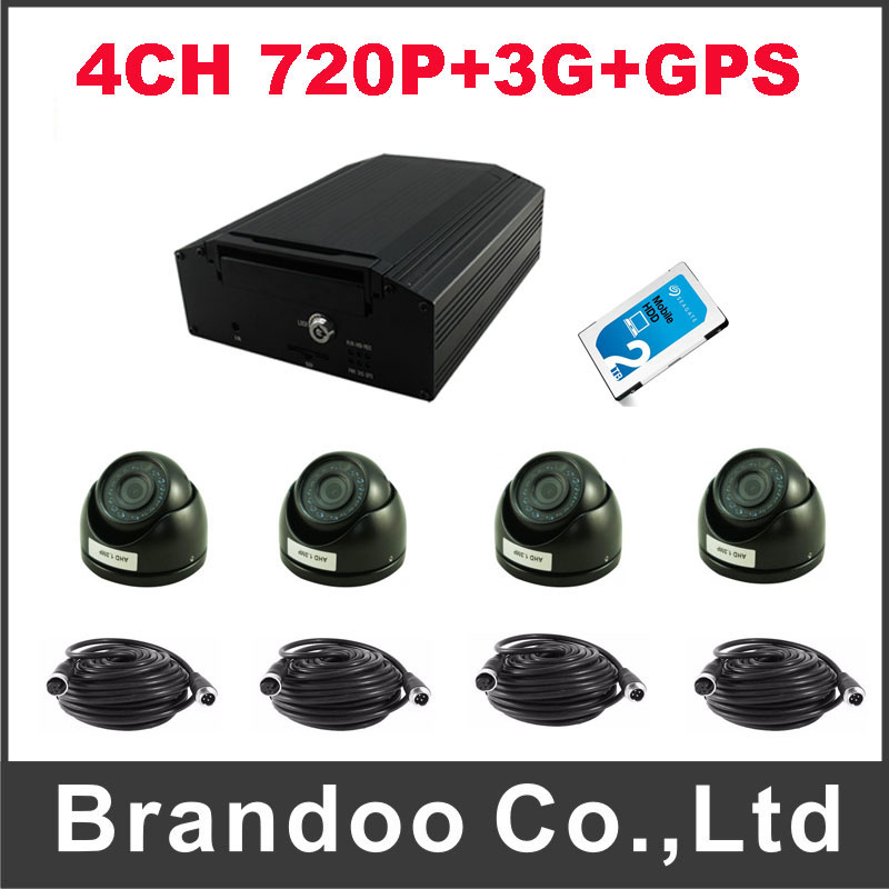 4CH 720P HDD MDVR with GPS and 3G function+4pcs AHD dome camera+1pcs 2TB HDD+4pcs AV video cable