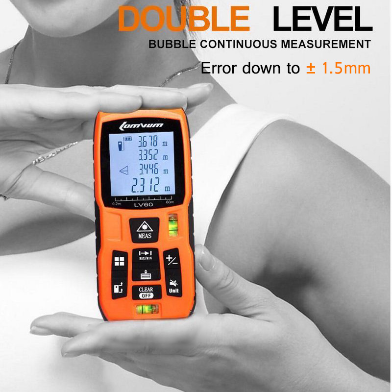 LOMVUM 40M 50M Laser Rangefinder Digital Laser Distance Meter LCD Back Light Battery-powered Rangefinder Tape Distance Measurer optical instruments berent bt4004 lcd laser rangefinder meter