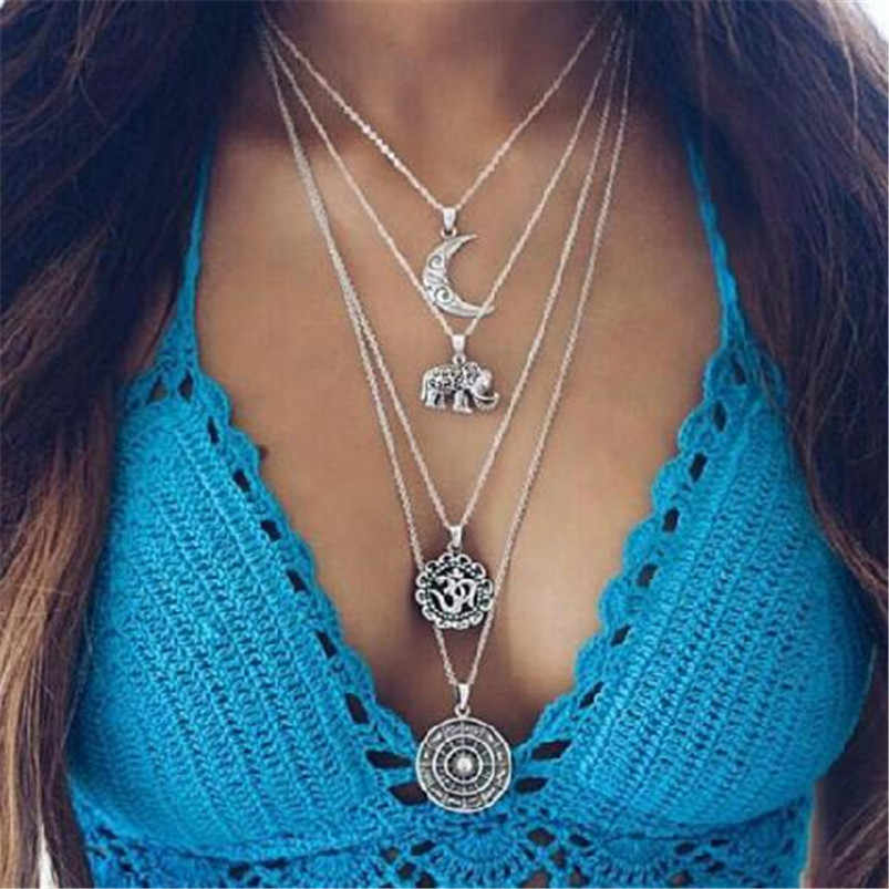 Lusion Jewelry Bohemian Wholesale Prcie Moon Elephant Multilayer Choker Necklace Ethnic Necklaces & Pendants Woman Vintage NEW
