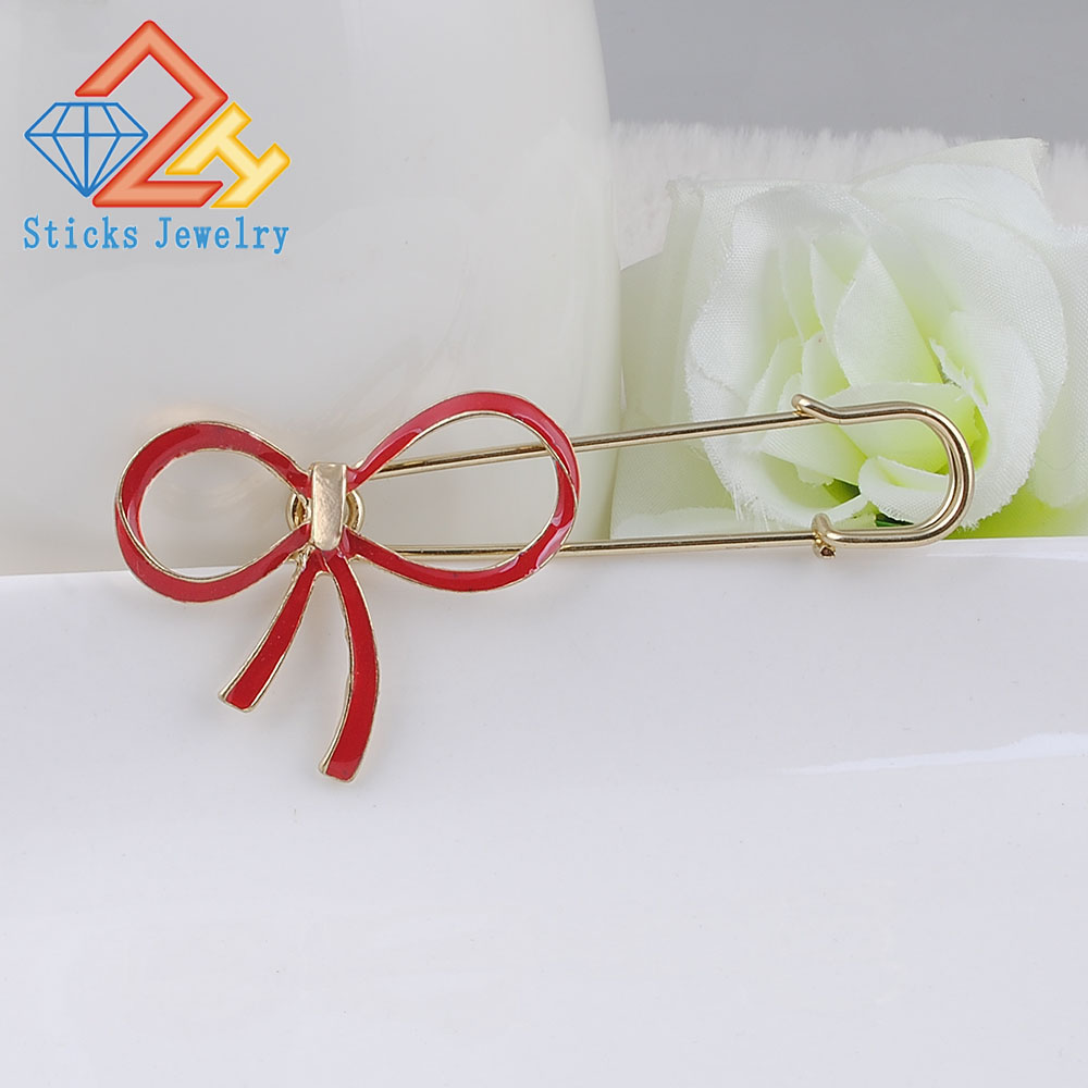 Fashion Brooch Jewelry Women High Quality Pins Crystal Bow Gold Alloy