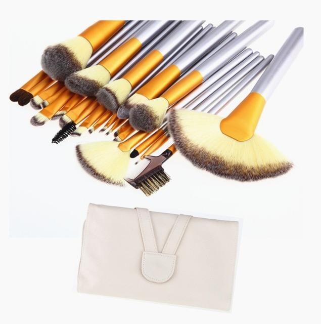 18 Pcs Make Up Brushes Set Fundação Blush Em Pó Sombra Blending Sobrancelha Pincéis de Maquiagem Ferramenta de Cosméticos Com Capa de Couro PU