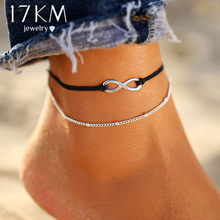 17KM Boho Infinite Beads Anklets For Women 2019 Fashion Sun Pendent Multi Layer Anklet Cotton Handmade Chain Foot Jewelry(China)