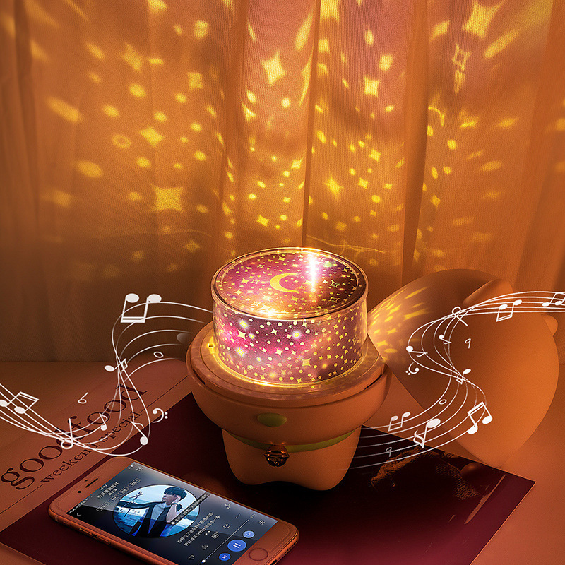 Cartoon Pet LED Night Light Rotating Projection Lamp Bluetooth Speaker Remote Bedside Atmosphere Lamp Children Novelty Lamp Gift