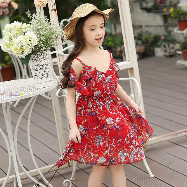 4be326057bf LouisDog Big Teen Girls Dress Strapless Dress Summer Beach Wear Girl  Children Red Floral Chiffon Holiday Party Clothes 7-15Y
