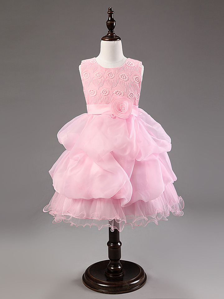 ФОТО Princess Dress Girl Ball Gown Children Festa Dress Kids Prom Party Dress Flower Girls Dresses For Wedding