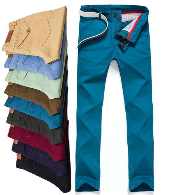 2016 Mens Casual 100% Pantalones de Algodón Pantalones Pantalones hombres De Marca De Ropa pantalón Slim Fit Pantalones Pantalones Rectos De Los Hombres Más El Tamaño 38