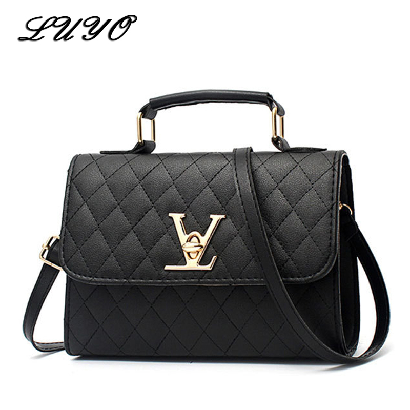 Luyo Fashion Leather Small V Style Luxury Handbags Women Bags Designer Crossbody For Famous Brands Messenger Bags Louis Bolsa