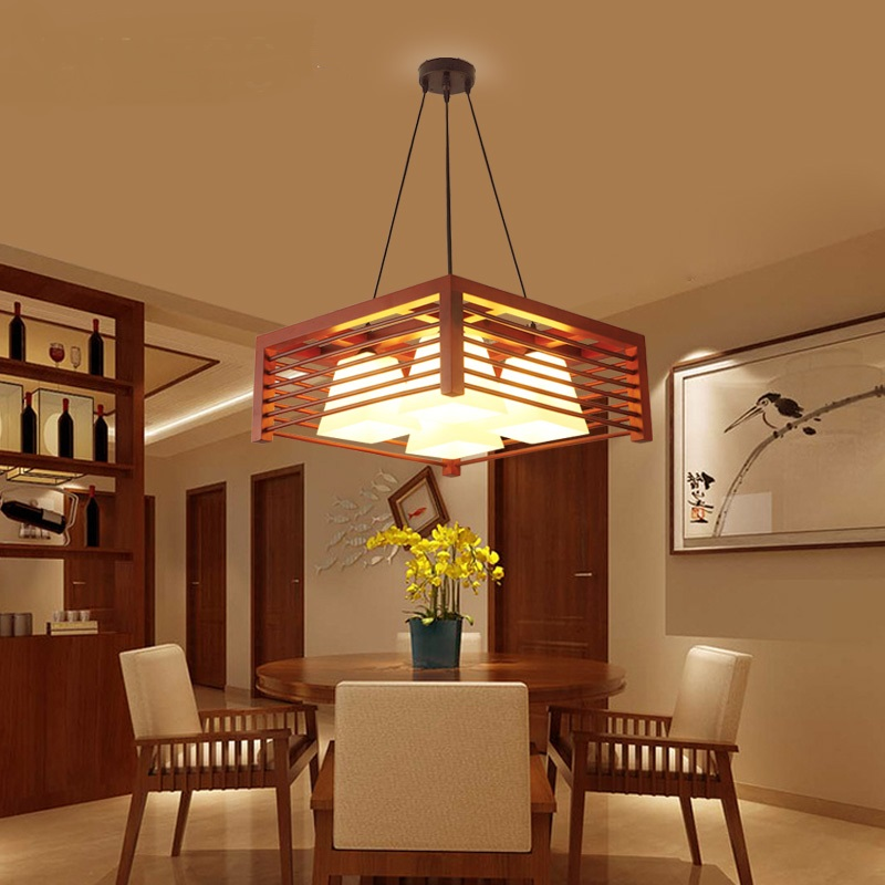 Modern Chinese Pendant Lights Solid Wood Restaurant Light Creative Three Dining Room Wooden Light Table Round Simple lamp chinese style classical wooden sheepskin pendant light living room lights bedroom lamp restaurant lamp restaurant lights