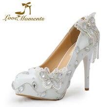 Liebe Momente Hochzeit brautschuhe frau weiß handgemachte kristall pumpt hohe absätze Praty Kleid schuhe 14 cm/11 cm/8 cm/6 cm heels
