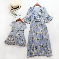 Mama Kids Mother Daughter Princess Dress Wedding Clothes Summer Mesh Mommy and Me Clothes Family Look Mum Mama and Baby Dress