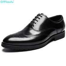 Genuine Cow Leather Pointed Toe Men's Classical Dress Shoes Oxfords Black Wine Red Designer Lace-up Brogue Shoes pjcmg fashion black red wine lace up pointed toe striped decoration genuine leather business formal casual oxfords shoes for man