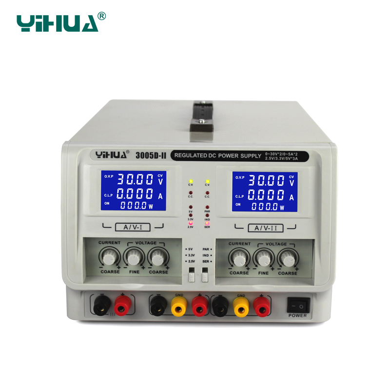 YIHUA 3005D-II Dual Channel Output Regulated DC Power Supply Variable 0-30V 0-5A Adjustable Voltage Supply rxn 305d ii 0 30v 0 5a two circuit output cocurrent voltage stabilized source fixed output 5v 3a adjustable dc power supply