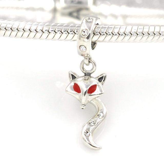 8f42bd461 Hot New Solid 925 Sterling Silver Beads Cute Fox Enamel Charm Pendant Fit  Pandora Charms Bracelet & Bangle DIY Jewelry Marking