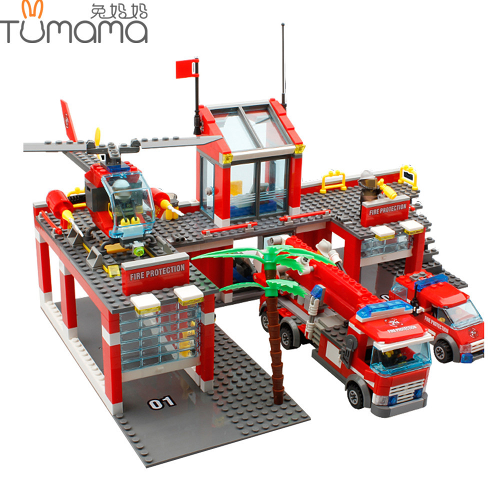Tumama City Fire Station DIY Blocks 774pcs Educational Building Bricks For Children Firefighter Playmobil Compatible with Legoed