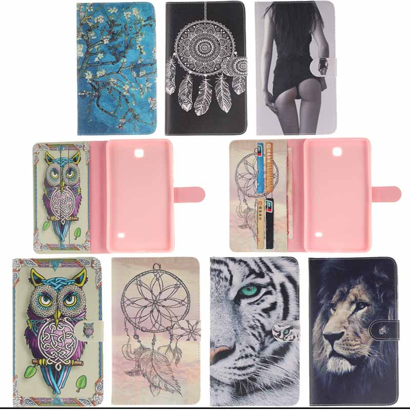 T230 T235 Case Tiger Design Book Style Flip PU Leather Cover for Samsung Galaxy Tab 4 7.0 SM-T230 SM-T231 T235 tablet S4D33D