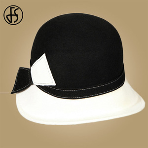 Image 3 - FS Wide Brim White Wool Hats Bow Bowler Fedora Hat For Women Chapeau Femme Feutre Winter Cloche Ladies Church Felt Fedoras Caps