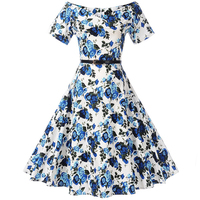 Belle Poque Print Floral 50s 60s Vintage Dresses Audrey Hepburn 2017 New Style Summer Retro Dress