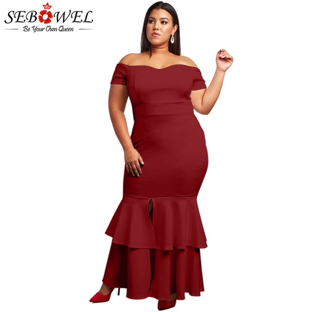 SEBOWEL Elegant Plus Size Red Bodycon Party Dress Women Sexy Off Shoulder  Maxi Dress Big Size Formal Strapless Evening Gown a077fcb146