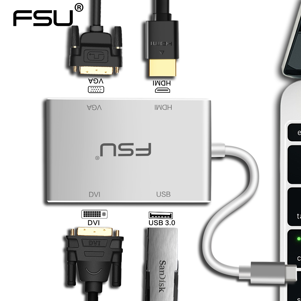 Dvi To Hdmi Adapter Tesco Vw Bluetooth Pairing Adapter Thunderbolt 3 To Thunderbolt 2 And Usb Adapter V Brake Adapter For 700c Wheel: Multi Function Mini USB 3.0 Type C To VGA DVI Splitter USB