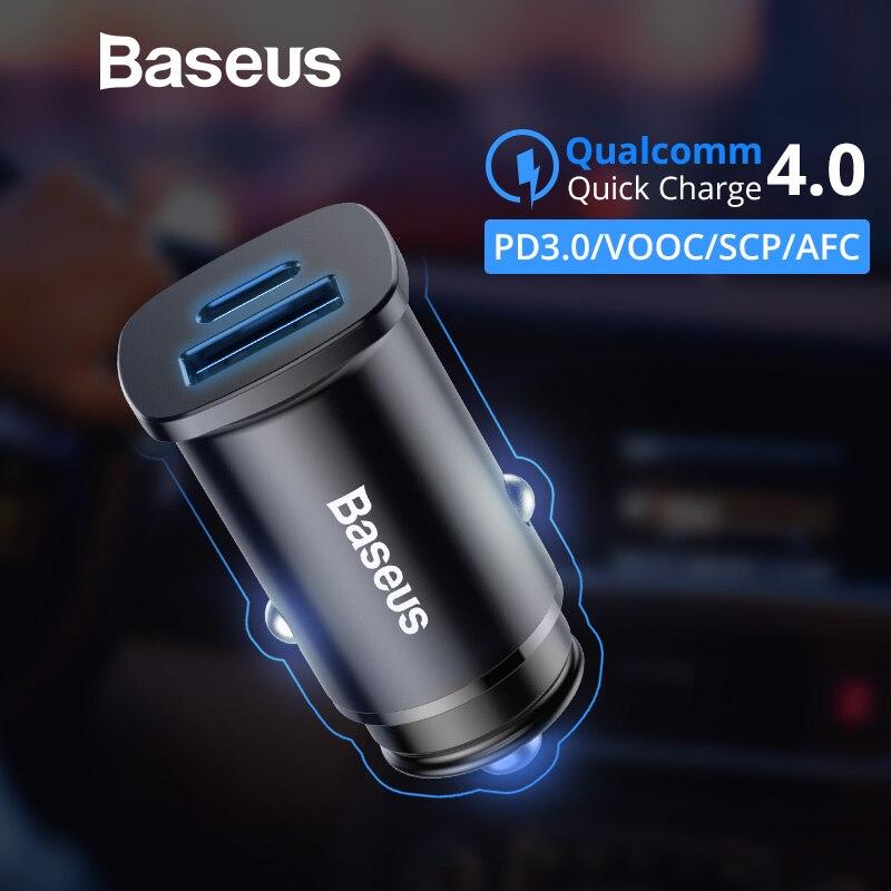 c6c87734d65 Comprar Baseus 30 W de carga rápida 4,0 cargador de coche tipo C PD3.0 AFC  SCP Dual USB rápido cargador de teléfono móvil para iPhone Xs Samsung Nota  9 S9 ...