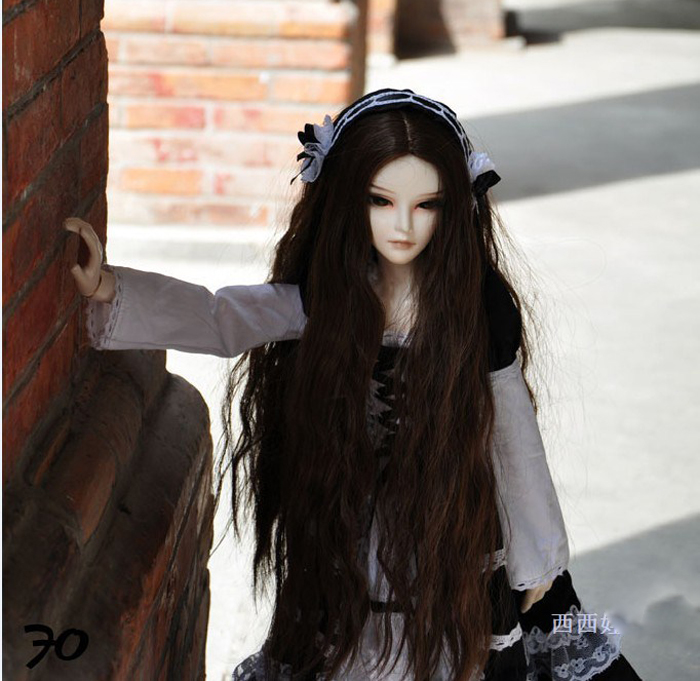 1/3 8-9 New Arrival Bjd SD Doll Wig High Temperature Wire Dark Coffee Long Beautiful Wavy For BJD Hair Wig 8 9 bjd wig silver knights of england volume mohair wig spot