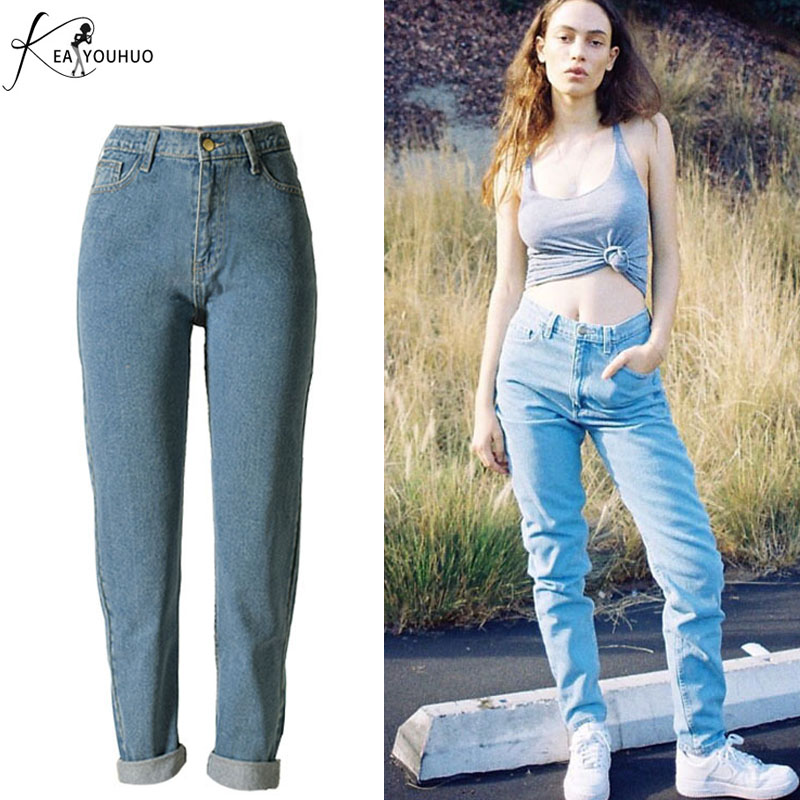 New 2017 Women's Jeans for girls Fashion Ladies Trousers Denim Mom Pants Female High Waist Ripped Jeans For Women overalls jean lanbaosi jeans cropped wide leg jeans for women high waist palazzo flare blue denim pants casual ladies mom jean wash trousers