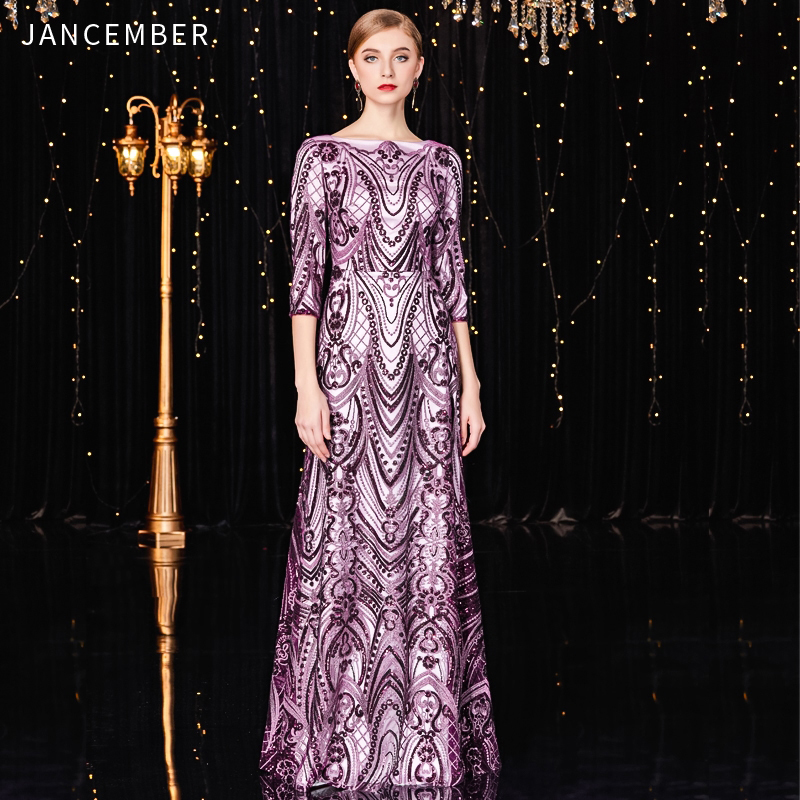 JANCEMBER Abito Da Cerimonia Donna Scoop Straight Three Quarter Floor-Length Vintage Pattern Sequined Latest Cocktail Dresses