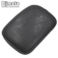 Bjmoto Moto Cross Pillion Rectangular Pad Seat 8 Suction Cup Solo Rear Seat Passenger Saddle For Harley Cruiser Chopper Custom