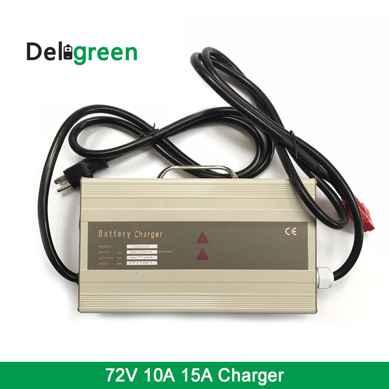 Deligreen Portable Intelligent CC CV charging mode Lithium ion Lead Acid Battery charger 72V 15A 10A