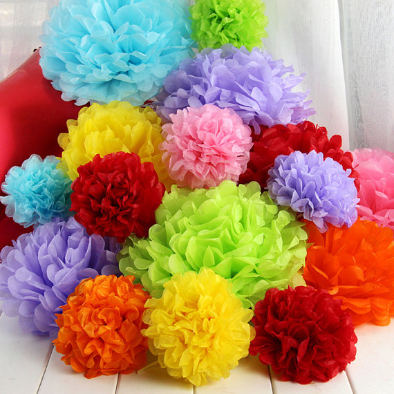 Free Shipping New Style 8 (20cm) Artificial Flowers Wedding Decoration Rainbow Paper Flower Balls Tissue Paper Pompoms