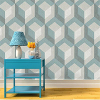 3D Stereoscopic Wall Papers Rustic Wood Tile Blue,Dark Grey Geometric Wallpaper For Walls 3D for Living Room Home Decor Rolls