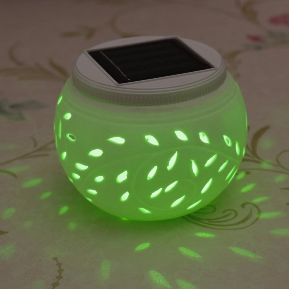 Color Changing Ceramic LED Solar Table Light For Garden Filigree Party Home  Yard Patio Outdoor Indoor