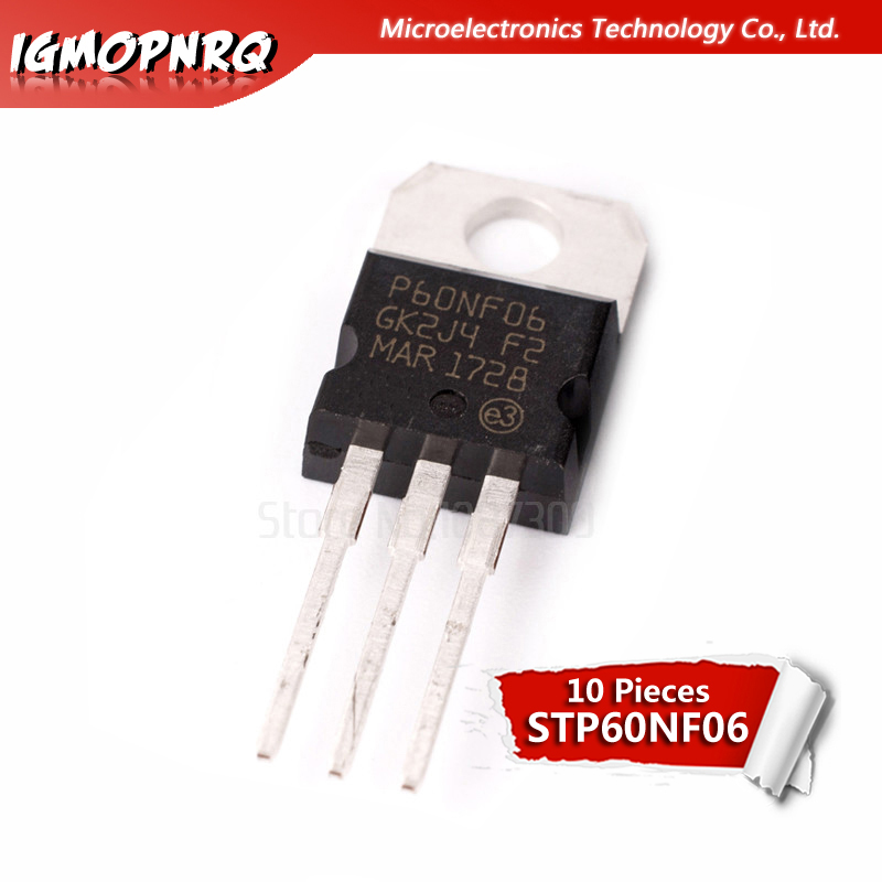 10PCS STP60NF06 TP220 <font><b>P60NF06</b></font> TO-220 STP60NF06L 60NF06 new and original IC image