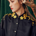LYNETTE'S CHINOISERIE Spring Autumn New Arrival Original Design Wome Gorgeous Vintage Gold Embroidery Gloss Black Loose Shirt