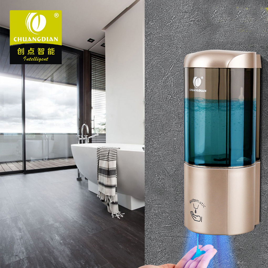 CHUANGDIAN Hotel Auto-Induction Free Punching Wall Mount Pump Foam Spray Lotion Drop Liquid Soap Container Dispenser Shampoo Box