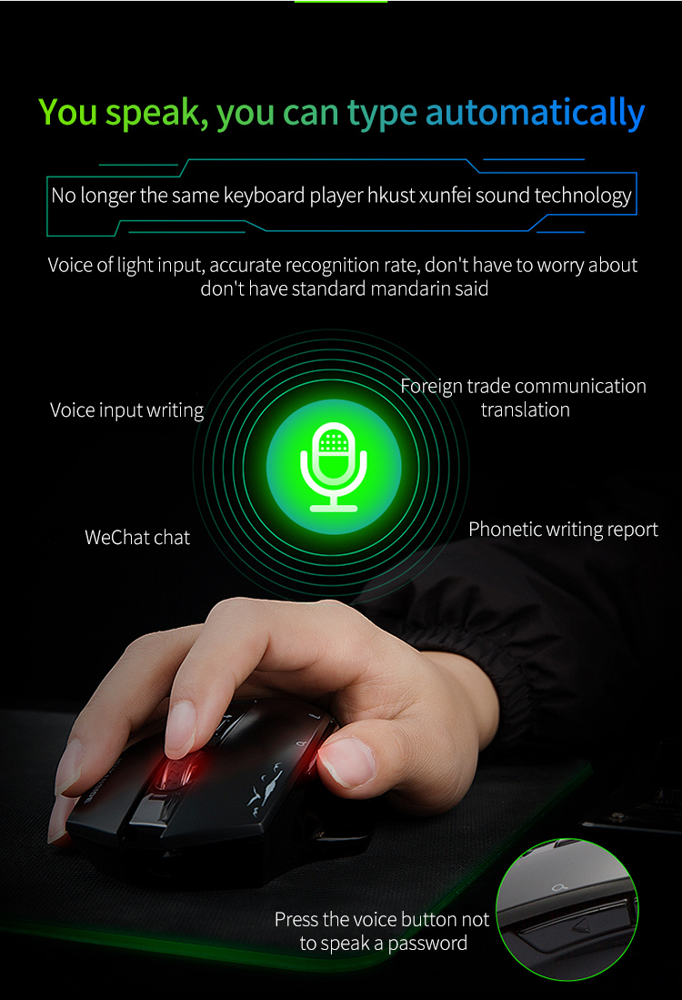 Cerreat Smart Voice Translation Mouse Portable Instant Intelligent speech translateTypingSearch 2.4G Wireless Mouse with Enter Key 24 Target Languages (4)